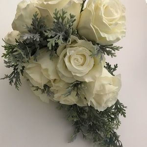 Bridal Bouquet -Ivory White Faux Roses w/ Greenery